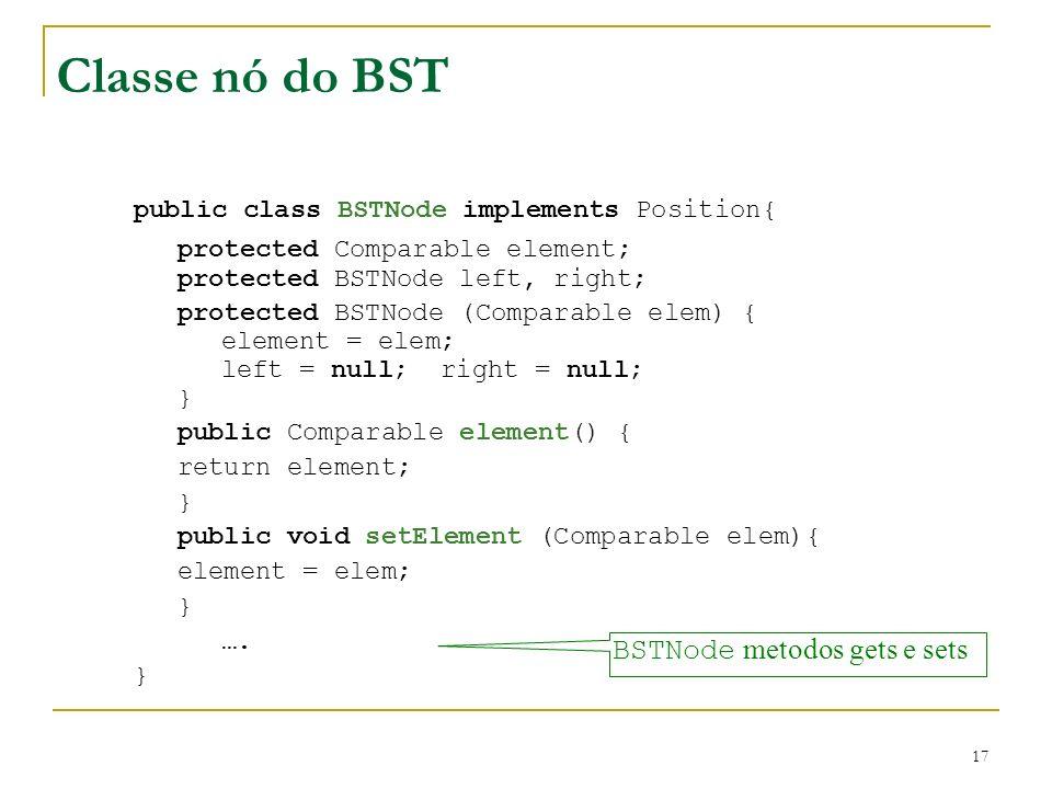 17 Classe nó do BST public class BSTNode implements Position{ protected Comparable element; protected BSTNode left, right; protected BSTNode (Comparab