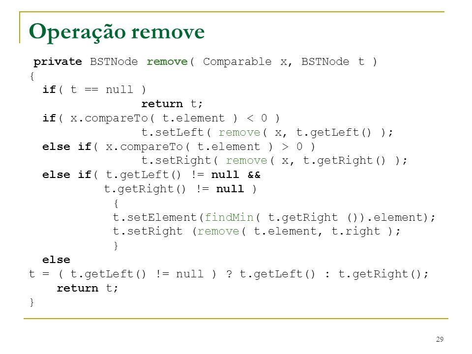 29 Operação remove private BSTNode remove( Comparable x, BSTNode t ) { if( t == null ) return t; if( x.compareTo( t.element ) < 0 ) t.setLeft( remove(
