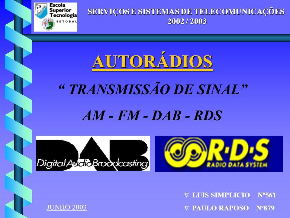 SERVIÇOS E SISTEMAS DE TELECOMUNICAÇÕES - 2002 / 2003 TRANSMISSÃO DE SINAL - RÁDIO SERVIÇOS E SISTEMAS DE TELECOMUNICAÇÕES 2002 / 2003 AUTORÁDIOS TRAN