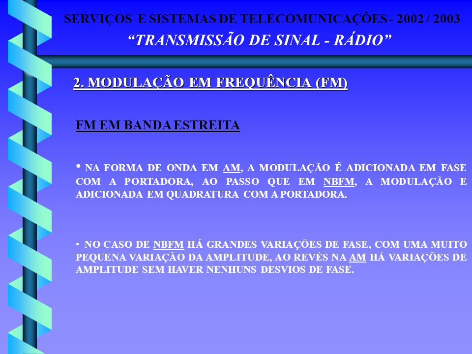 SERVIÇOS E SISTEMAS DE TELECOMUNICAÇÕES - 2002 / 2003 TRANSMISSÃO DE SINAL - RÁDIO 2. MODULAÇÃO EM FREQUÊNCIA (FM) NA FORMA DE ONDA EM AM, A MODULAÇÃO