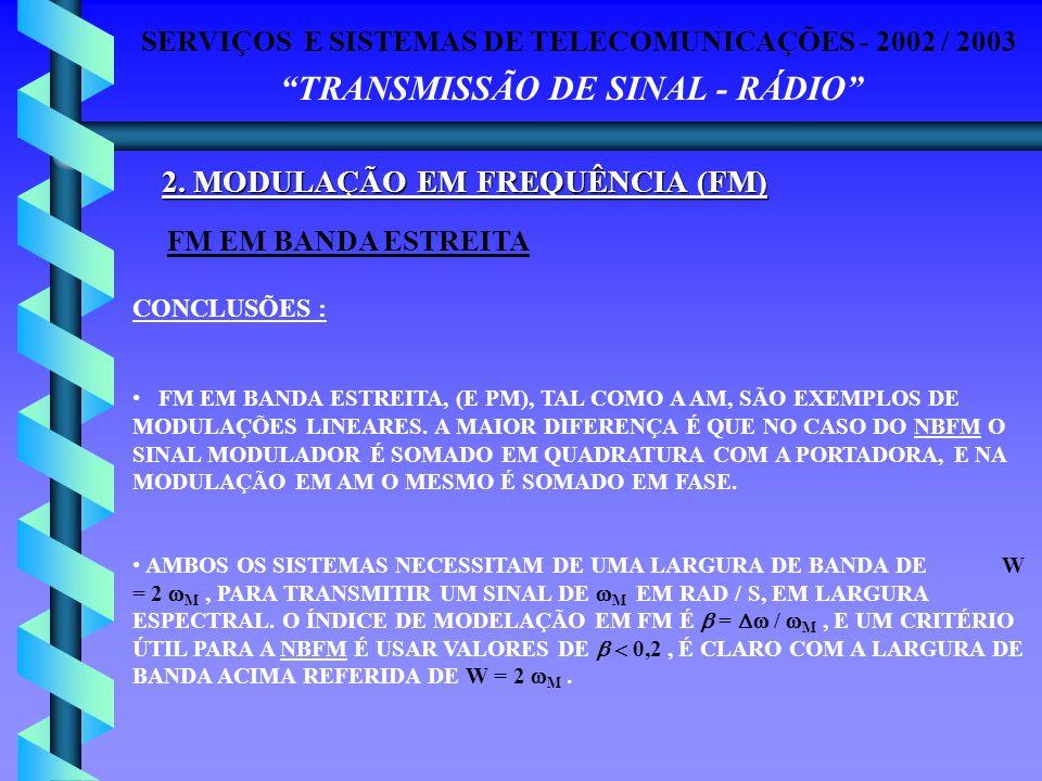 SERVIÇOS E SISTEMAS DE TELECOMUNICAÇÕES - 2002 / 2003 TRANSMISSÃO DE SINAL - RÁDIO 2. MODULAÇÃO EM FREQUÊNCIA (FM) FM EM BANDA ESTREITA CONCLUSÕES : F