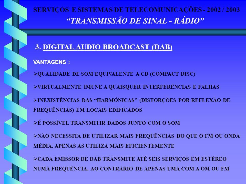 SERVIÇOS E SISTEMAS DE TELECOMUNICAÇÕES - 2002 / 2003 TRANSMISSÃO DE SINAL - RÁDIO 3. DIGITAL AUDIO BROADCAST (DAB) VANTAGENS : QUALIDADE DE SOM EQUIV