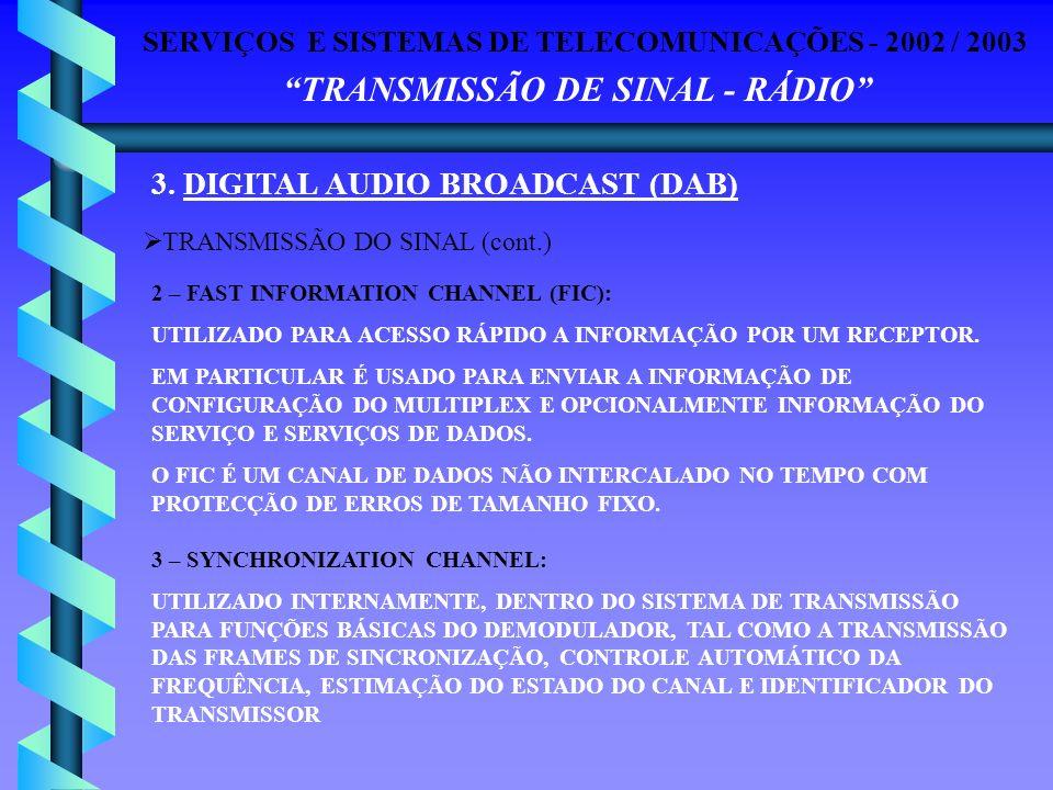 SERVIÇOS E SISTEMAS DE TELECOMUNICAÇÕES - 2002 / 2003 TRANSMISSÃO DE SINAL - RÁDIO 3. DIGITAL AUDIO BROADCAST (DAB) TRANSMISSÃO DO SINAL (cont.) 2 – F