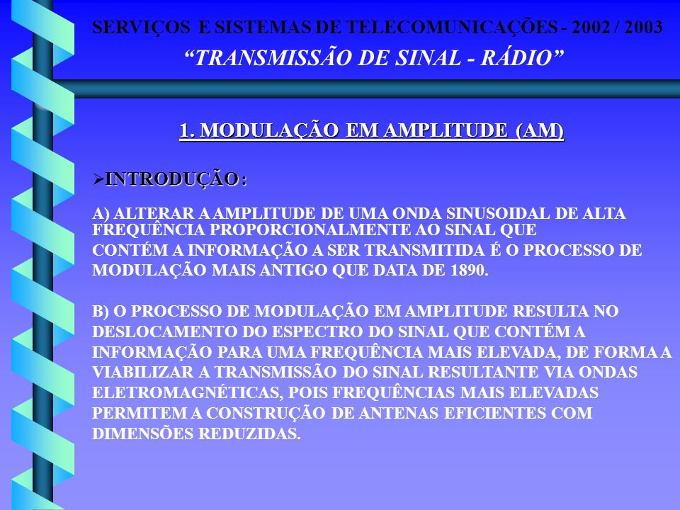 SERVIÇOS E SISTEMAS DE TELECOMUNICAÇÕES - 2002 / 2003 TRANSMISSÃO DE SINAL - RÁDIO TIPOS DE MODULAÇÃO EM AMPLITUDE : A) BANDA LATERAL DUPLA (AM-DSB AMPLITUDE MODULATION WITH DOUBLE SIDE-BAND) B) BANDA LATERAL VESTIGIAL (AM-VSB AMPLITUDE MODULATION WITH VESTIGIAL SIDE-BAND) C) BANDA LATERAL DUPLA E PORTADORA SUPRIMIDA (AM-DSB-SC AM-DSB WITH SUPRESSED CARRIER) D) BANDA LATERAL VESTIGIAL E PORTADORA SUPRIMIDA (AM-VSB-SC AM-VSB WITH SUPRESSED CARRIER) E) BANDA LATERAL SIMPLES (AM-SSB AMPLITUDE MODULATION WITH SINGLE SIDE-BAND ) 1.