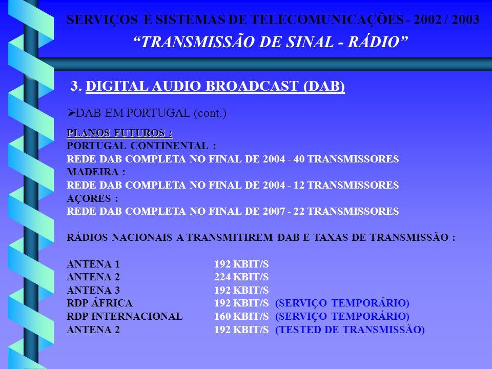 SERVIÇOS E SISTEMAS DE TELECOMUNICAÇÕES - 2002 / 2003 TRANSMISSÃO DE SINAL - RÁDIO 3. DIGITAL AUDIO BROADCAST (DAB) DAB EM PORTUGAL (cont.) PLANOS FUT