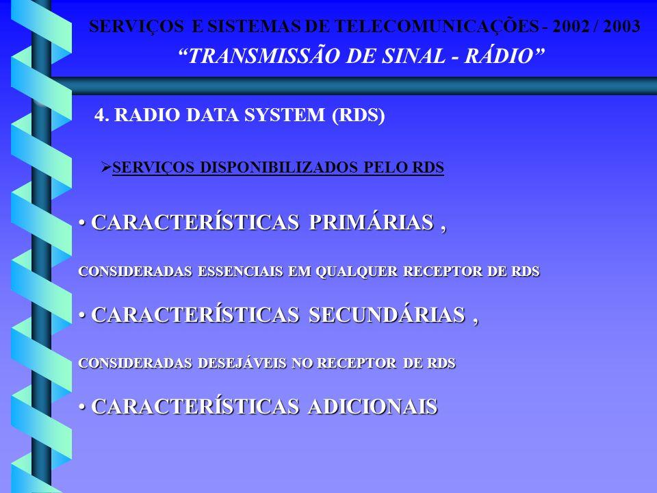 SERVIÇOS E SISTEMAS DE TELECOMUNICAÇÕES - 2002 / 2003 TRANSMISSÃO DE SINAL - RÁDIO 4. RADIO DATA SYSTEM (RDS) SERVIÇOS DISPONIBILIZADOS PELO RDS CARAC