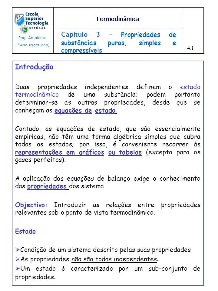 Capítulo 3 - Propriedades de substâncias puras, simples e compressíveis Introdução Duas propriedades independentes definem o estado termodinâmico de u