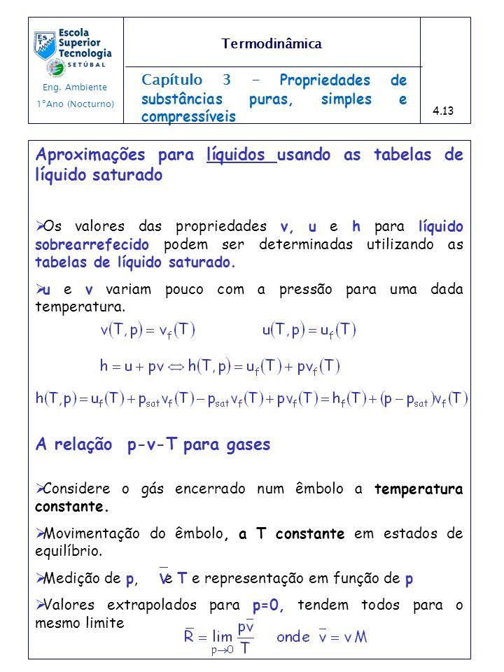 Capítulo 3 - Propriedades de substâncias puras, simples e compressíveis Aproximações para líquidos usando as tabelas de líquido saturado Os valores da