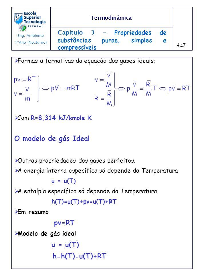 Capítulo 3 - Propriedades de substâncias puras, simples e compressíveis Formas alternativas da equação dos gases ideais: Com R=8,314 kJ/kmole K O mode