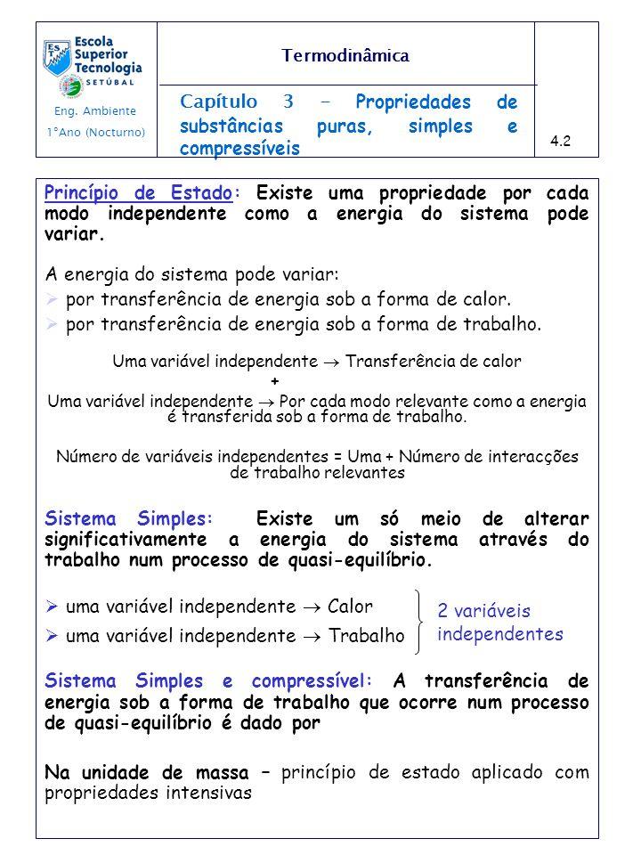 Capítulo 3 - Propriedades de substâncias puras, simples e compressíveis Princípio de Estado: Existe uma propriedade por cada modo independente como a