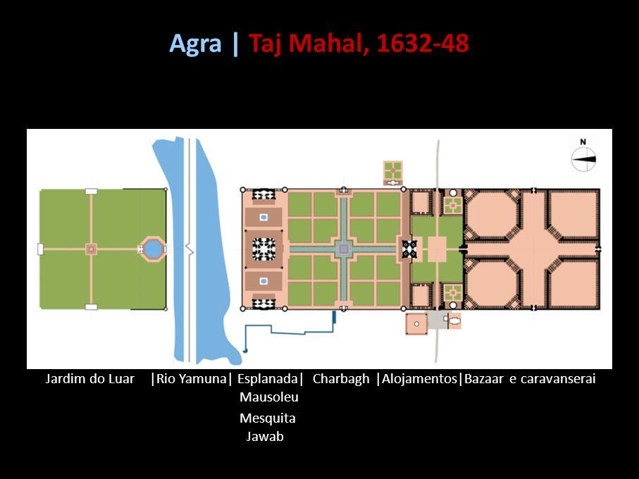 Jardim do Luar |Rio Yamuna| Esplanada| Charbagh |Alojamentos|Bazaar e caravanserai Mausoleu Mesquita Jawab