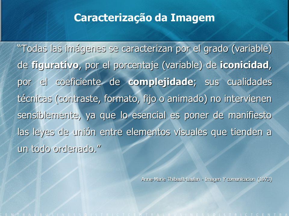 Caracterização da Imagem Todas las imágenes se caracterizan por el grado (variable) de figurativo, por el porcentaje (variable) de iconicidad, por el