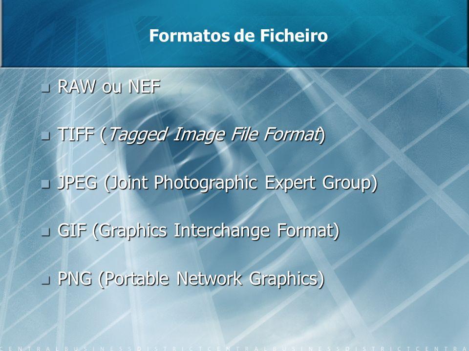 Formatos de Ficheiro RAW ou NEF RAW ou NEF TIFF (Tagged Image File Format) TIFF (Tagged Image File Format) JPEG (Joint Photographic Expert Group) JPEG