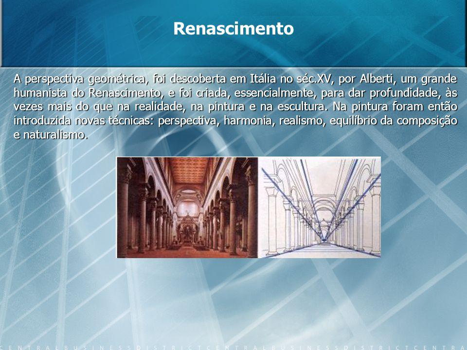 A perspectiva geométrica, foi descoberta em Itália no séc.XV, por Alberti, um grande humanista do Renascimento, e foi criada, essencialmente, para dar