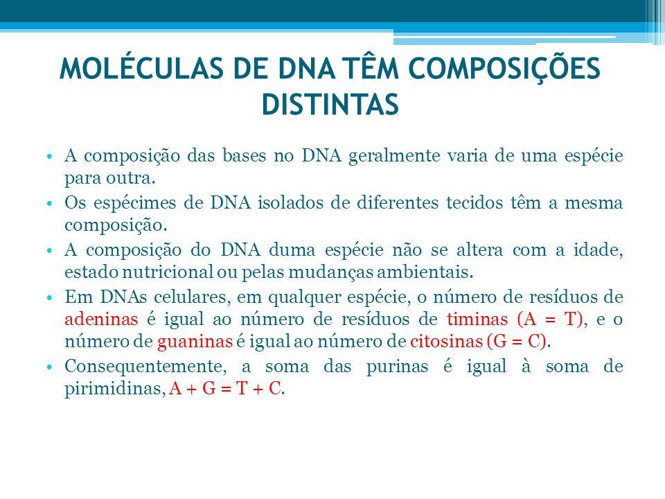 MOLÉCULAS DE DNA TÊM COMPOSIÇÕES DISTINTAS A composição das bases no DNA geralmente varia de uma espécie para outra. Os espécimes de DNA isolados de d