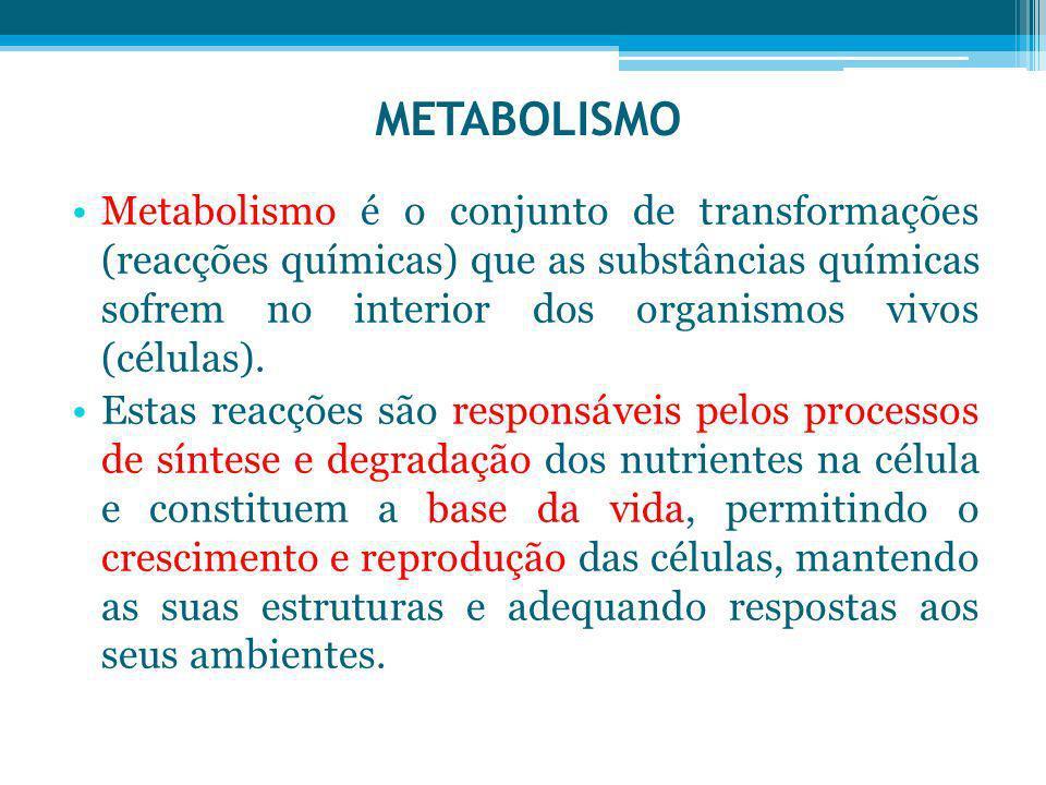 Metabolismo é o conjunto de transformações (reacções químicas) que as substâncias químicas sofrem no interior dos organismos vivos (células). Estas re