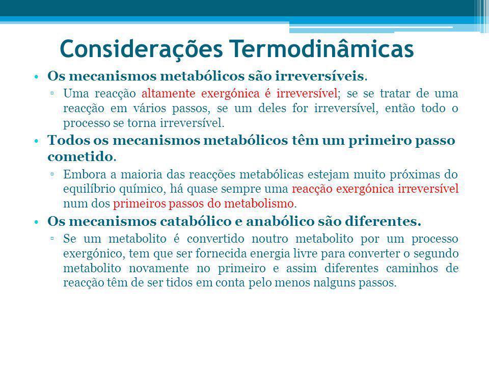 Considerações Termodinâmicas Os mecanismos metabólicos são irreversíveis. Uma reacção altamente exergónica é irreversível; se se tratar de uma reacção