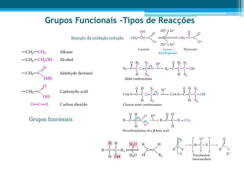 Grupos Funcionais -Tipos de Reacções Grupos funcionais Reacção de oxidação redução