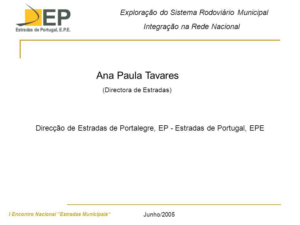 Exploração do Sistema Rodoviário Municipal Integração na Rede Nacional I Encontro Nacional Estradas Municipais Junho/2005 Ana Paula Tavares Direcção de Estradas de Portalegre, EP - Estradas de Portugal, EPE (Directora de Estradas)