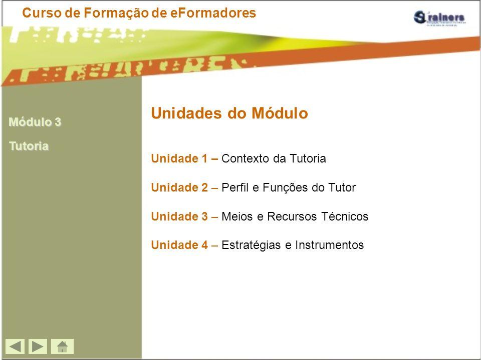 Conteúdos Programáticos do Módulo Curso de Formação de eFormadores 1.