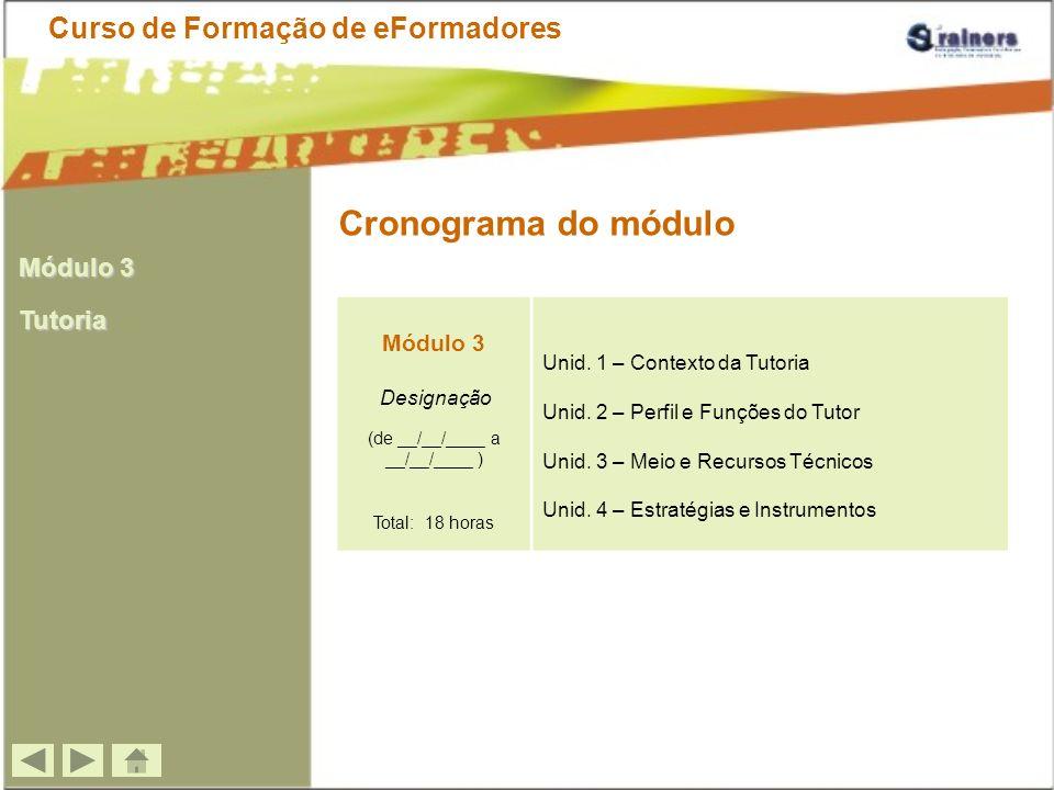 Metodologia de Formação Curso de Formação de eFormadores Formação síncrona (chat com a duração max.