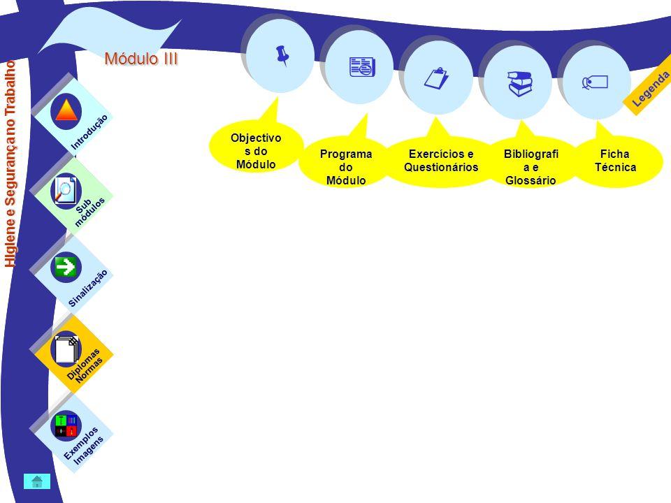 Módulo II Objectivo s do Módulo Programa do Módulo Exercícios e Questionários Bibliografi a e Glossário Ficha Técnica Higiene e Segurança no Trabalho