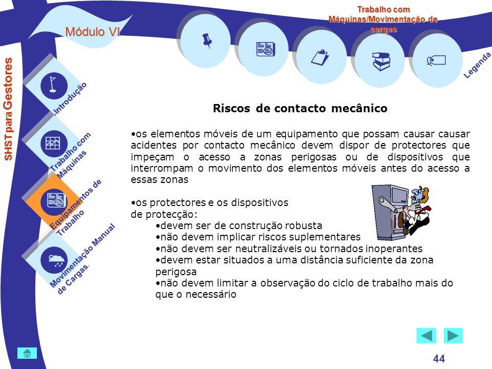 Módulo VI SHST para Gestores Introdução Trabalho com Máquinas Equipamentos de Trabalho Movimentação Manual de Cargas. Legenda Trabalho com Máquinas/Mo