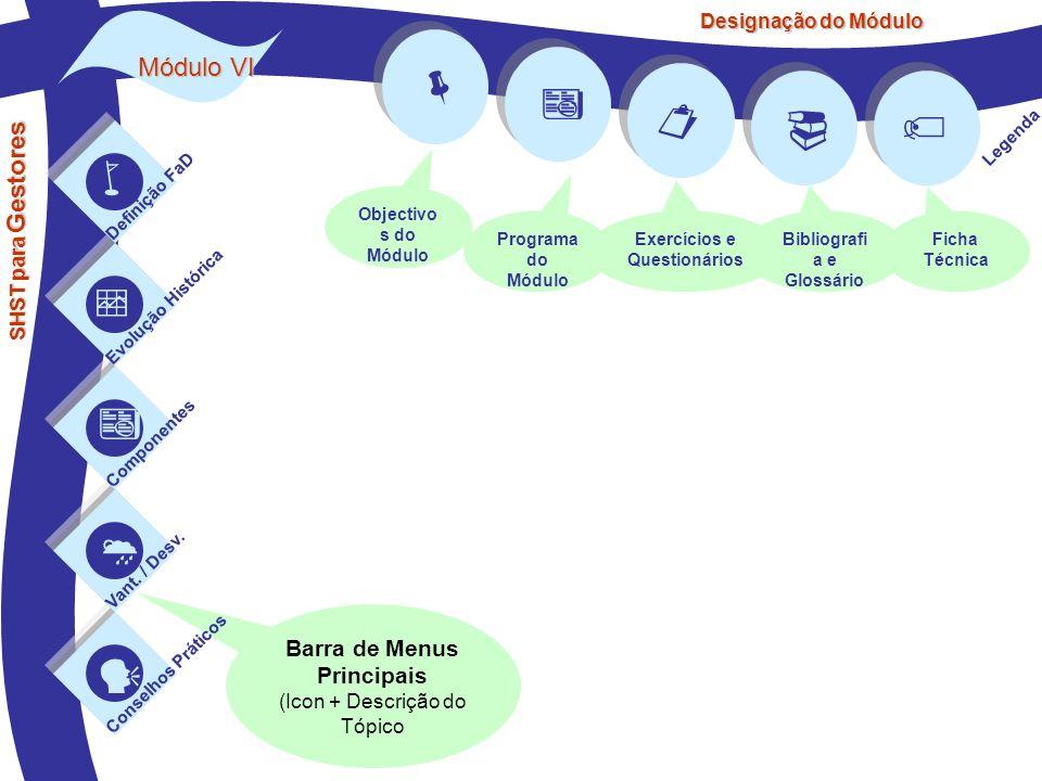 Barra de Menus Principais (Icon + Descrição do Tópico Módulo VI SHST para Gestores Definição FaD Evolução Histórica Componentes Vant. / Desv. Conselho