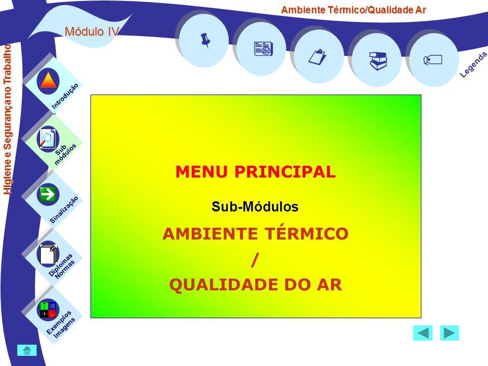 Ambiente Térmico/Qualidade Ar Módulo IV Legenda MENU PRINCIPAL Sub-Módulos AMBIENTE TÉRMICO / QUALIDADE DO AR Exemplos Imagens Sub módulos Sinalização