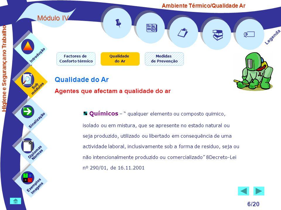 Ambiente Térmico/Qualidade Ar Módulo IV 6/20 Exemplos Imagens Sub módulos Sinalização Diplomas Normas Introdução Legenda Higiene e Segurança no Trabal