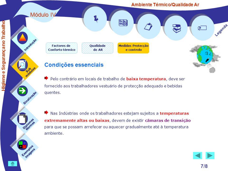 Ambiente Térmico/Qualidade Ar Módulo IV 7/8 Exemplos Imagens Sub módulos Sinalização Diplomas Normas Introdução Legenda Higiene e Segurança no Trabalh