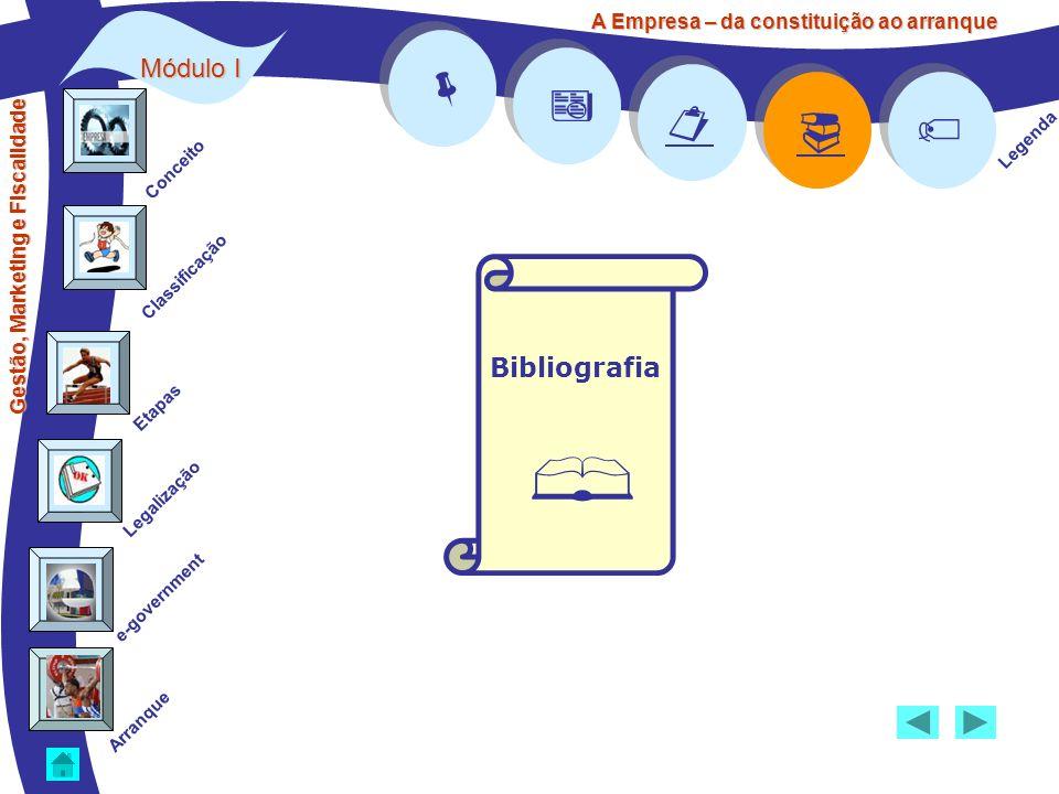 Legenda Módulo I Bibliografia A Empresa – da constituição ao arranque Gestão, Marketing e Fiscalidade Conceito Classificação Etapas Legalização Arranq