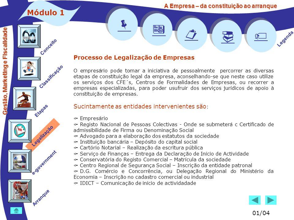 Gestão, Marketing e Fiscalidade Conceito Classificação Etapas Legalização e-government Legenda Arranque A Empresa – da constituição ao arranque Módulo