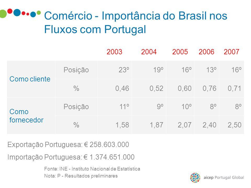 Fonte: INE - Instituto Nacional de Estatística Nota: P - Resultados preliminares 20032004200520062007 Como cliente Posição23º19º16º13º16º %0,460,520,6