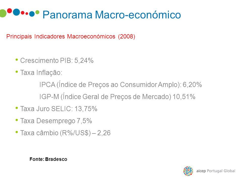 Panorama Macro-económico Principais Indicadores Macroeconómicos (2008) Crescimento PIB: 5,24% Taxa Inflação: IPCA (Índice de Preços ao Consumidor Ampl