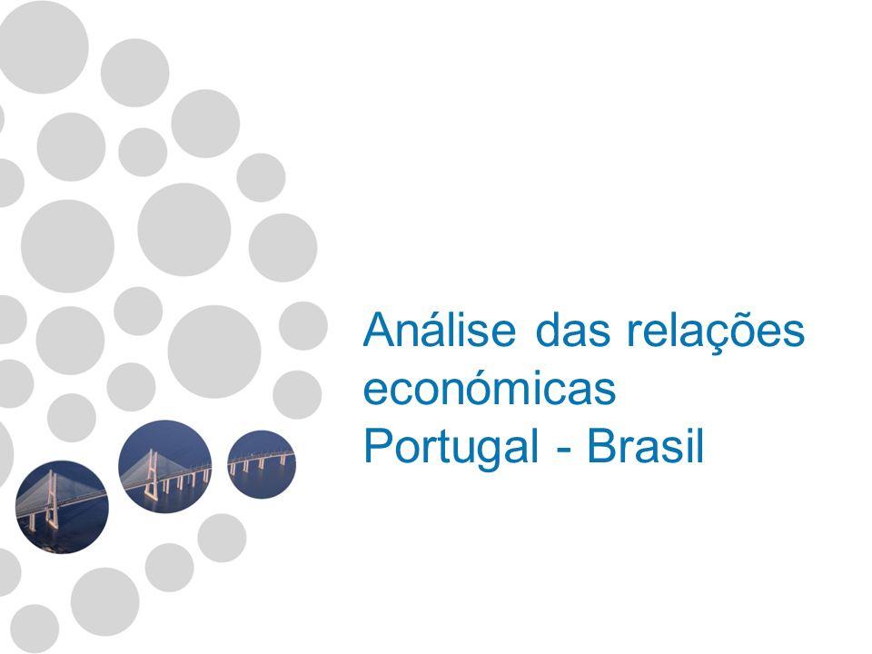 Fonte: INE - Instituto Nacional de Estatística Nota: P - Resultados preliminares 20032004200520062007 Como cliente Posição23º19º16º13º16º %0,460,520,600,760,71 Como fornecedor Posição11º9º10º8º %1,581,872,072,402,50 Comércio - Importância do Brasil nos Fluxos com Portugal Exportação Portuguesa: 258.603.000 Importação Portuguesa: 1.374.651.000