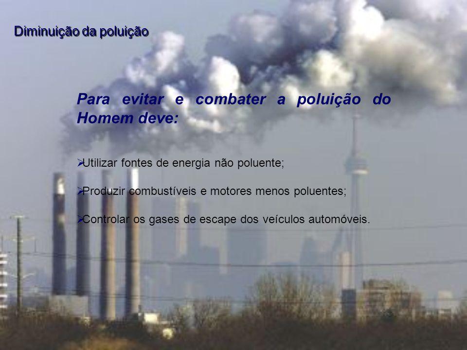 Utilizar fontes de energia não poluente; Produzir combustíveis e motores menos poluentes; Controlar os gases de escape dos veículos automóveis. Para e