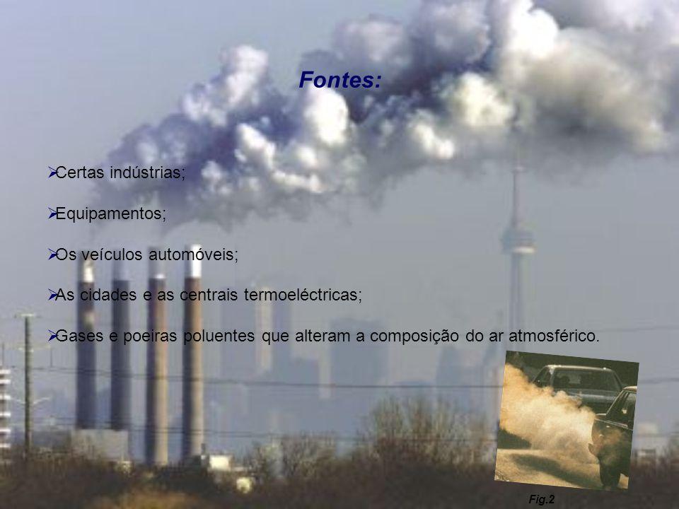 Fontes: Certas indústrias; Equipamentos; Os veículos automóveis; As cidades e as centrais termoeléctricas; Gases e poeiras poluentes que alteram a com