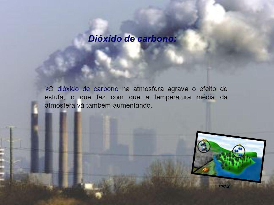 Dióxido de carbono: O dióxido de carbono na atmosfera agrava o efeito de estufa, o que faz com que a temperatura média da atmosfera vá também aumentan