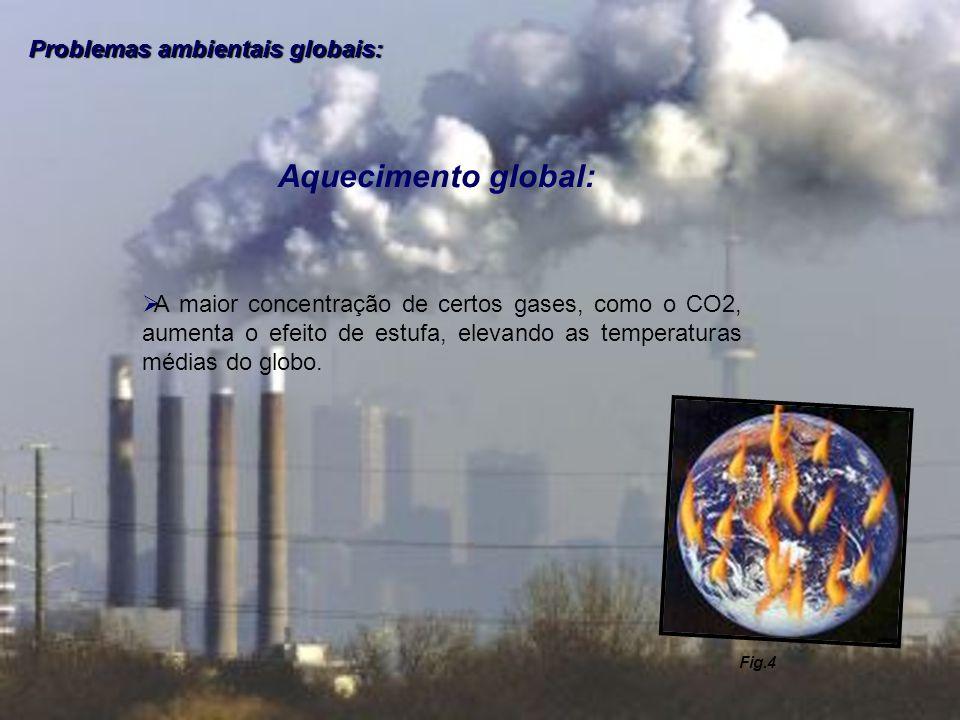 Problemas ambientais globais: Aquecimento global: A maior concentração de certos gases, como o CO2, aumenta o efeito de estufa, elevando as temperatur