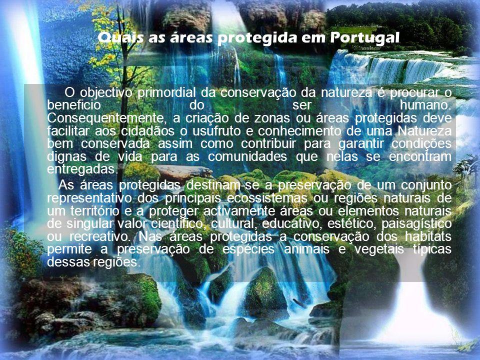 O objectivo primordial da conservação da natureza é procurar o beneficio do ser humano. Consequentemente, a criação de zonas ou áreas protegidas deve