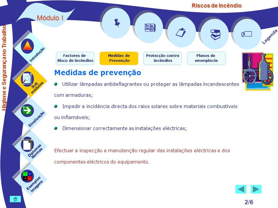 Riscos de Incêndio 2/6 Medidas de prevenção Utilizar lâmpadas antideflagrantes ou proteger as lâmpadas incandescentes com armaduras; Impedir a incidên