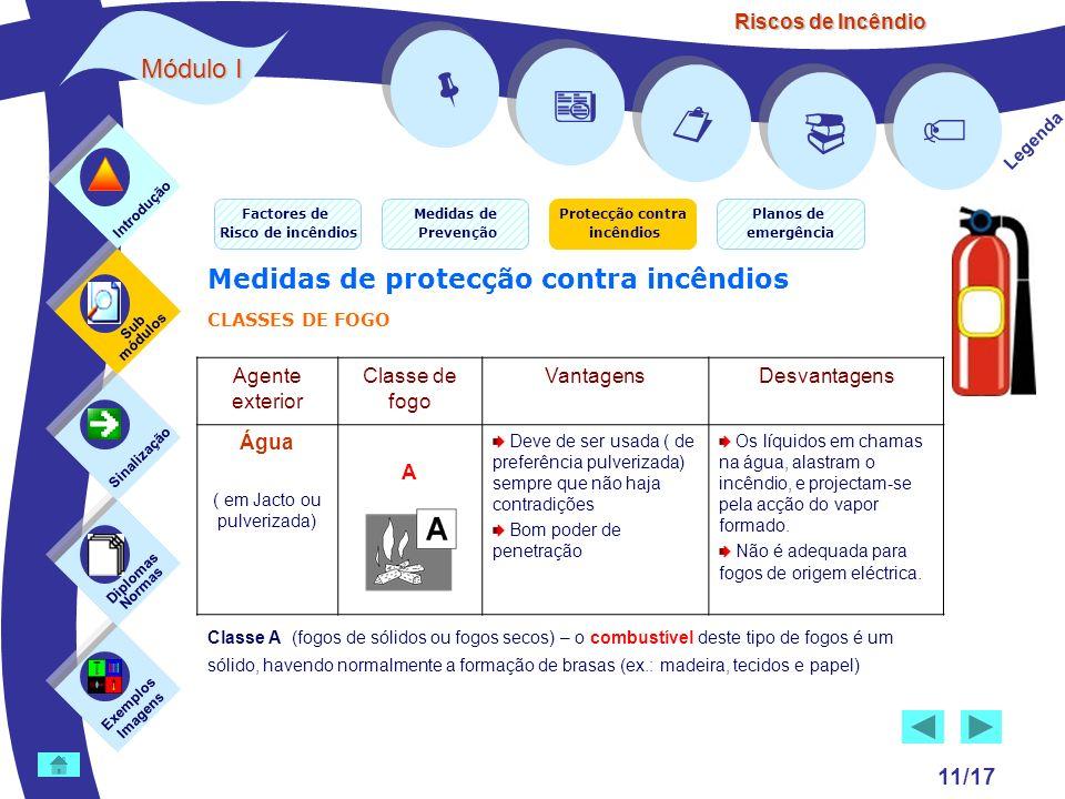 Riscos de Incêndio 11/17 Exemplos Imagens Sub módulos Sinalização Diplomas Normas Introdução Legenda Medidas de protecção contra incêndios CLASSES DE