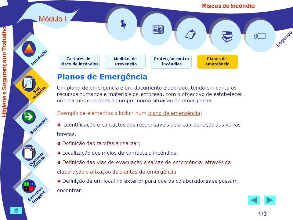 Riscos de Incêndio 1/3 Medidas de Prevenção Protecção contra incêndios Planos de emergência Factores de Risco de incêndios Exemplos Imagens Sub módulo