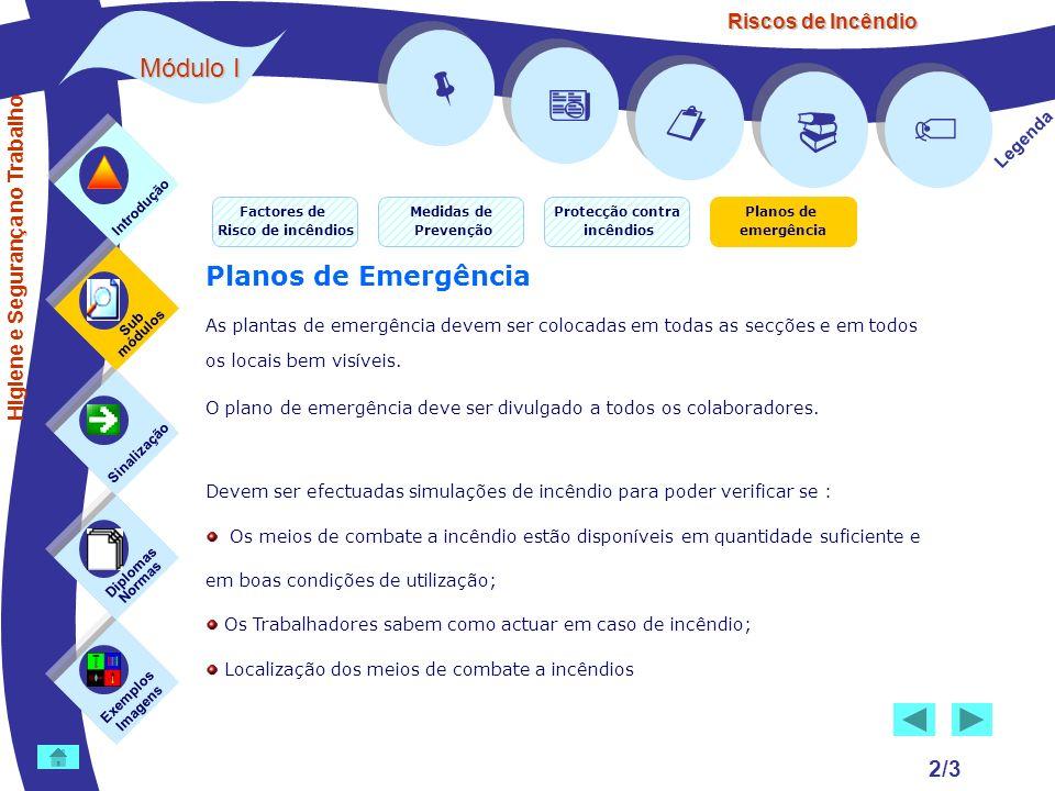 Riscos de Incêndio 2/3 Exemplos Imagens Sub módulos Sinalização Diplomas Normas Introdução Legenda Planos de Emergência As plantas de emergência devem