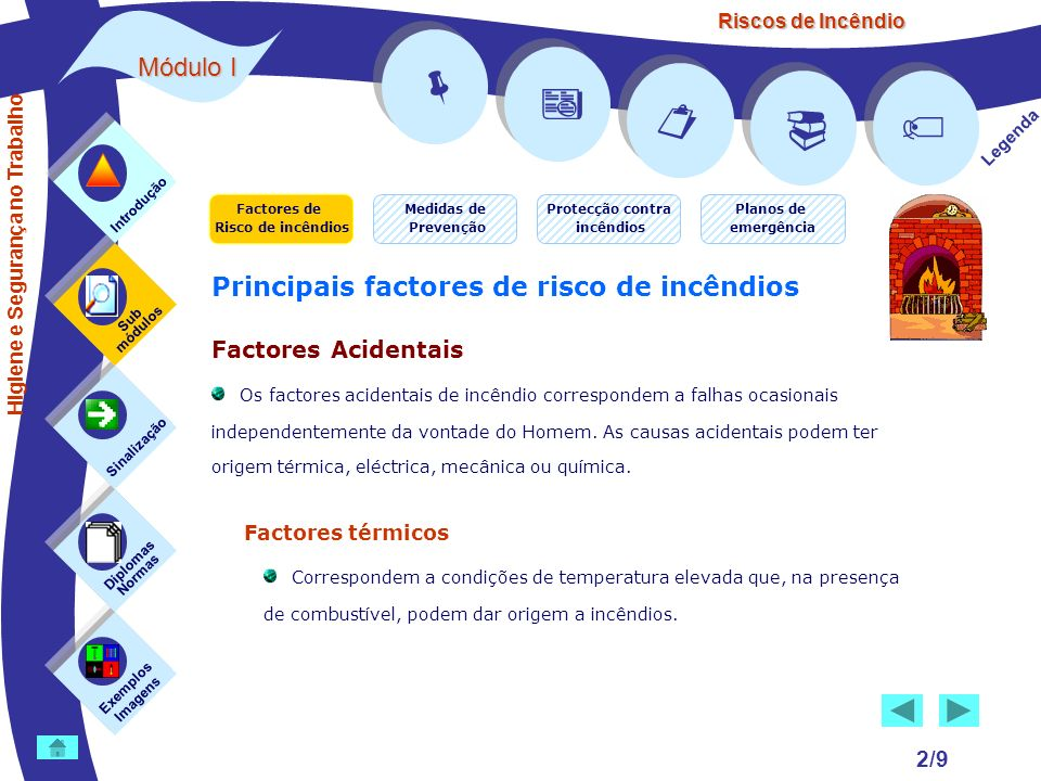 Riscos de Incêndio 2/9 Exemplos Imagens Sub módulos Sinalização Diplomas Normas Introdução Legenda Principais factores de risco de incêndios Factores