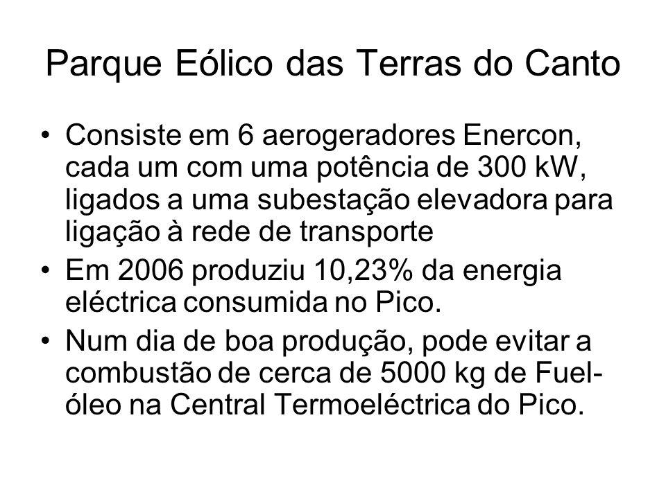 Parque Eólico das Terras do Canto Consiste em 6 aerogeradores Enercon, cada um com uma potência de 300 kW, ligados a uma subestação elevadora para lig