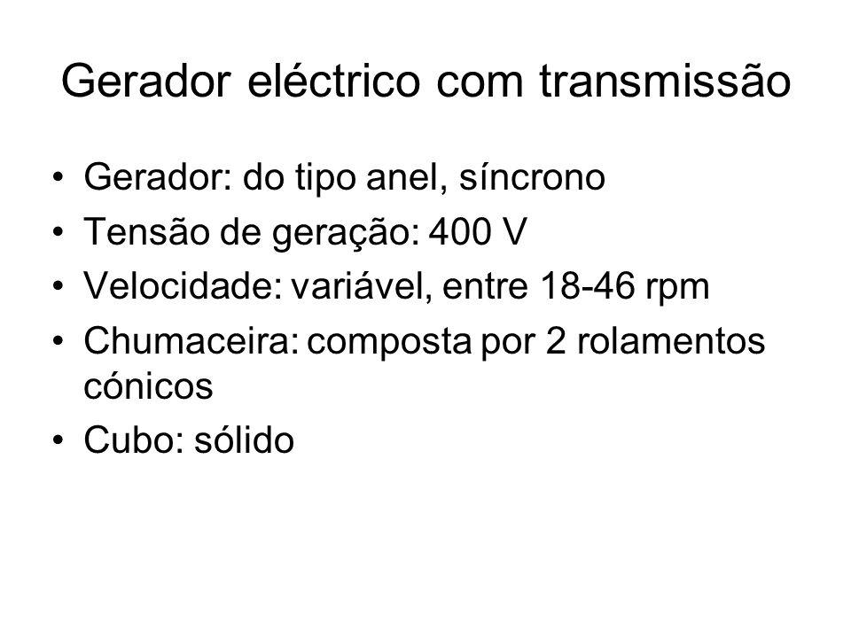 Gerador eléctrico com transmissão Gerador: do tipo anel, síncrono Tensão de geração: 400 V Velocidade: variável, entre 18-46 rpm Chumaceira:composta p