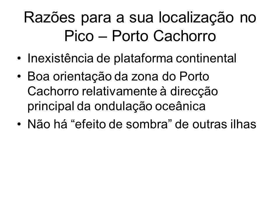 Razões para a sua localização no Pico – Porto Cachorro Inexistência de plataforma continental Boa orientação da zona do Porto Cachorro relativamente à