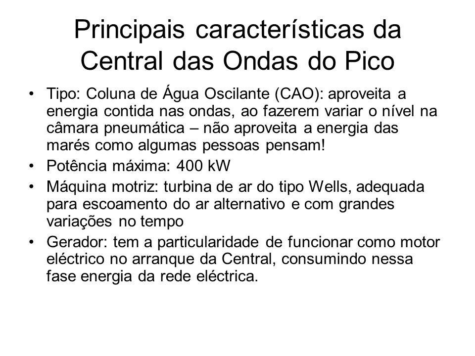 Principais características da Central das Ondas do Pico Tipo: Coluna de Água Oscilante (CAO): aproveita a energia contida nas ondas, ao fazerem variar